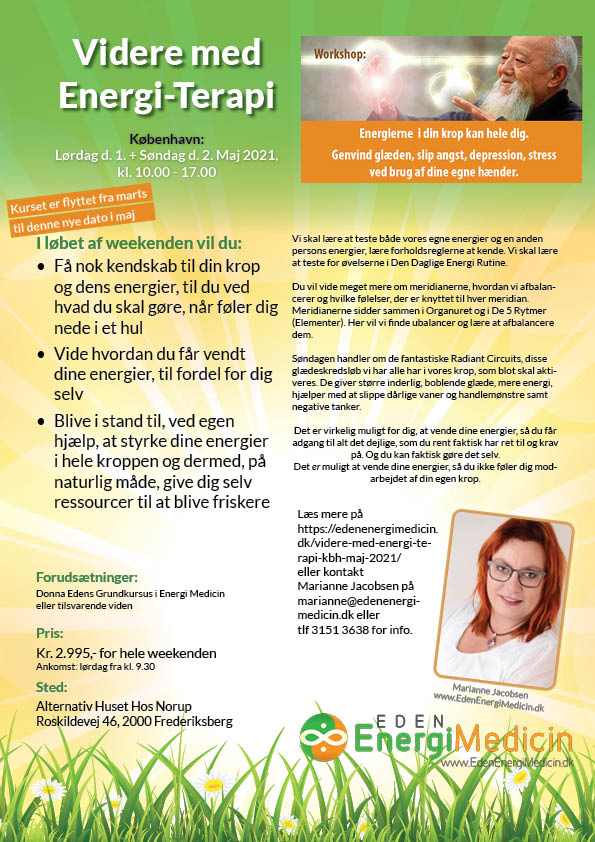 Kursus 2 - Videre med energiterapi, flyer, Kbh MAJ 2021, Marianne Jacobsen